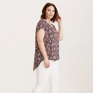 Torrid Medallion Print Button Back Blouse 1x